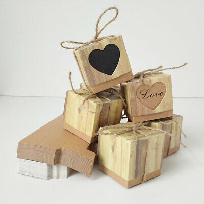 30~100pcs Kraft Paper Chocolate Candy Boxes Wedding Party Baby Shower Favor Gift