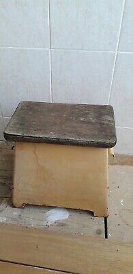 Retro 1940s on step stool metal vintage stool store kitchen prop project