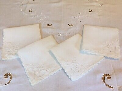 Very Fine Ivory Linen white on white Cut Work Tablecloth W/ 4 Matching Napkins.