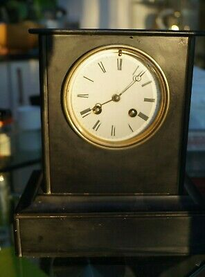 Antique small French bell strike slate mantel clock. SEE VIDEO.