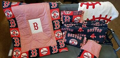 Boston Red Sox Crib BEDDING with MOBILE