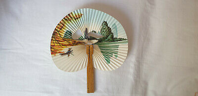 Vintage 1980s small hand held paper folding  fan - bamboo handle