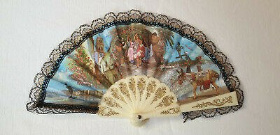 Vintage 1980s small hand held pocket fan - cream sticks and fabric leaf