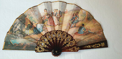 Vintage 1980s small hand held pocket fan - Brown sticks and printed fabric leaf