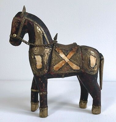 Antique/Vintage Hand Carved Wooden Horse Hammered Brass Armor Stone Bone Inlay