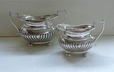 Antique Sterling Silver Milk Jug and Sugar Bowl, Chester 1909, Martin, Hall & Co