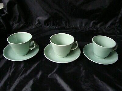 3 x Vintage Woods Ware Beryl Green Cups & Saucers (Old Back Stamp)