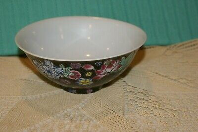Vintage Chinese Porcelain Hand Painted Bowl FLOWERS on Black,WHITE INSIDE 6 1/4""