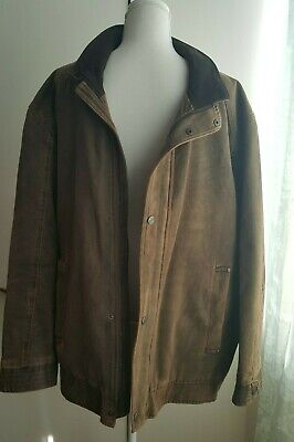 Douglas Mens Jacket Coat UK XL Defining Casual Collared Brown Faux Suede