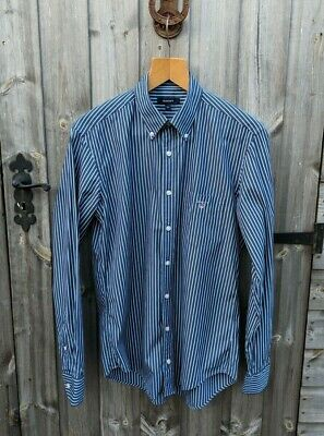 Gant M Colourful Blue Stripe Shirt Men's Regent Poplin E-Z Fit Logo Casual Work