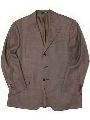 Faconnable x Cantarelli Mens Sport Coat 44R Brown Blue Plaid Wool Silk Linen
