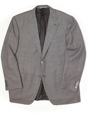Canali 1934 Mens Sport Coat 46R Gray Check Wool Weave Woven Jacket Italy