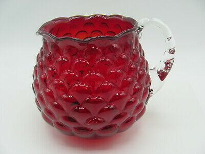 Fenton Pitcher Jug Ruby Red Overlay Jacqueline Embossed Petals Applied Handle