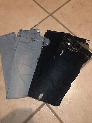 2 Pairs Of abercrombie kids girls jeans size 12.  Lt Blue And Dk Blue Distresse