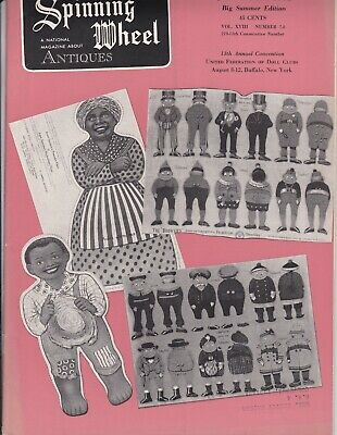 Spinning Wheel magazine 1962--antique cloth dolls, buttons German fans, glass