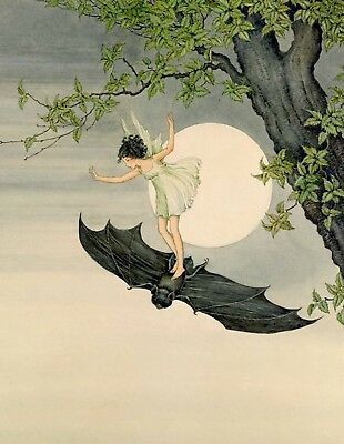 Postcard: Vintage repro print - Fairy in Green Dress Rides a Bat by Full Moon
