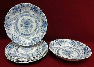 "ARCOPAL France HONORINE pattern 5 Salad Plates (7-1/2"") + 1 Soup Bowl (7-1/8"")"