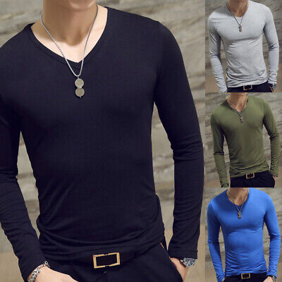 Men Slim Fit T-shirt Long Sleeve Tops Pullover V-Neck Blouse Casual Fashion New