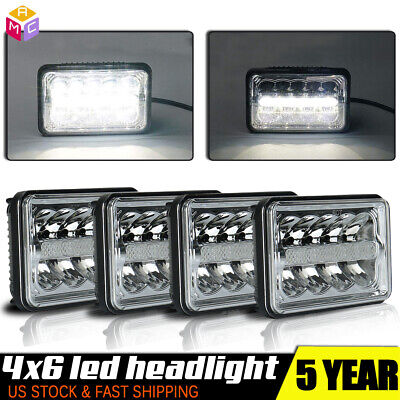 DOT 4PCS Square 4X6 Inch LED Headlights DRL Lamp for 1979-1986 Ford Mustang