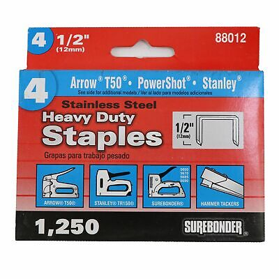 """88012 #4 Stainless Steel Narrow Crown Staples - 1/2"""" Length - 1250 count"""