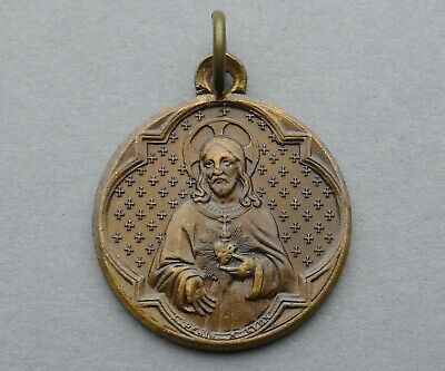 French, Antique Religious Bronze Medal. Jesus Christ, Sacred Heart. By Penin.