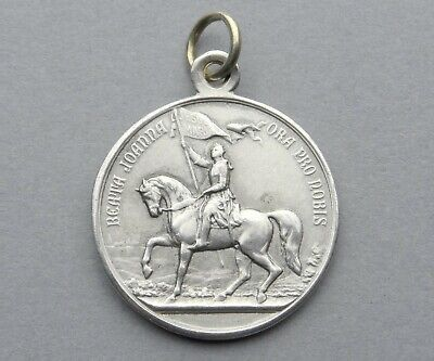 French Antique Religious Sterling Pendant. Saint Joan of Arc. Silver Medal Horse
