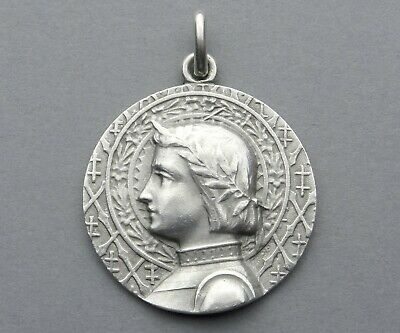 French, Antique Religious Sterling Pendant. Saint Joan of Arc. Medal By Tricard.
