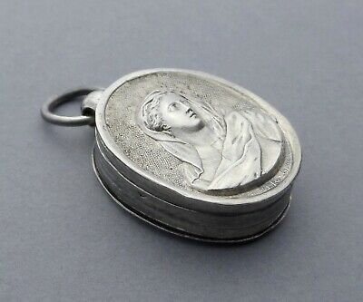 French, Antique Religious Sterling Reliquary. Saint Virgin Mary. Medal Pendant.