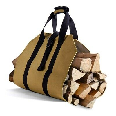 Large Canvas Log Tote Bag Carrier Indoor Fireplace Firewood Totes Holders FE5V6
