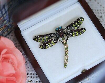 Vintage Jewellery brooch crystal rhinestone dragonfly antique jewelry