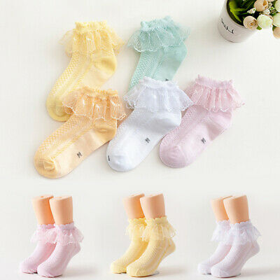 Princess Girl Toddler Kids Baby Girls Vintage Lace Bow Ruffle Frilly Ankle Socks
