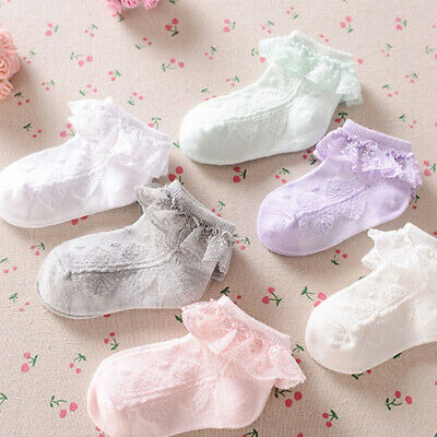 Baby Girls Flower Lace Ankle Short Socks Newborn Infant Toddlers Cotton Socks AU