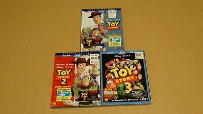 Toy Story Trilogy (Disney Blu-ray/DVD) Toy Story 1 + 2 + 3 BRAND NEW W/SLIPS