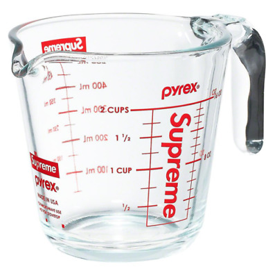 Brand New FW19 Supreme Box Logo Pyrex 2-Cup Glass Measuring Cup