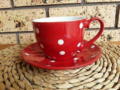 """Maxwell & Williams """"Sprinkle"""" Cup & Saucer Red White Polka Dots"""
