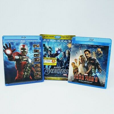 Iron Man 2 - Iron Man 3 - Avengers - MCU Blu Ray Lot