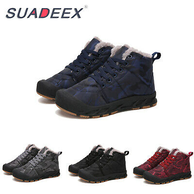 Kids Ankle Snow Boots Boys Girls Winter Warm Fur Lined Outdoor Sneakers Shoes UK