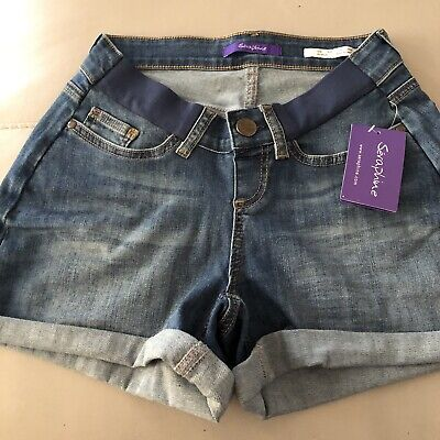 Seraphine Maternity Denim Shorts Size 8 BNWT Ollie Under bump