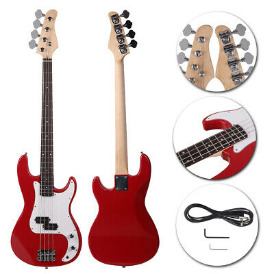 Fashion Red Full Size 4-String Electric Bass Guitar Burning Fire Style