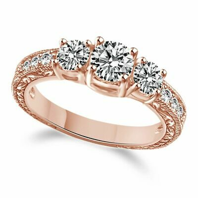 Christmas Special Round 10K Rose Gold Over 3 Stone Clear Bridal Promise Ring 9