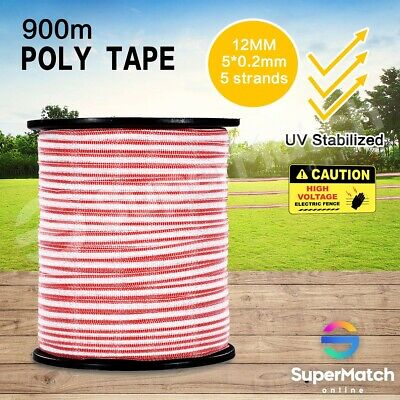 900M Roll Electric Fence Poly Tape Energiser Stainless Steel Wire Kit Poly Tape