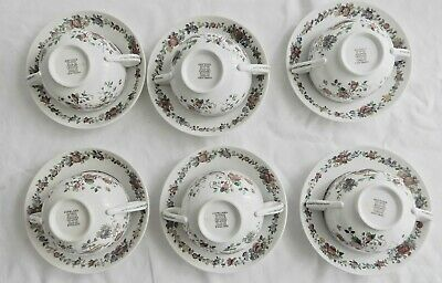 6 Suppentassen mit Unterteller, soup cups with saucers, Copeland, Spode, England