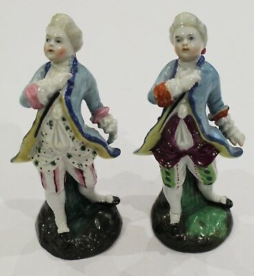 Antique Pair Of Gentleman Figures In 18thC Dress -   Incense / Spill holder