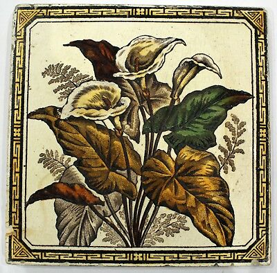 Antique Victorian  Wall Tile - ARUM LILIES  - Aesthetic Movement C1880s