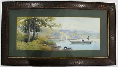 Antique Japanese / Chinese Watercolour Painting River Scene Signed + Seal mark