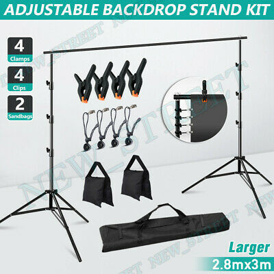 2.5x3m Photography Background Support Stand Photo Studio Backdrop 4 Crossbar KIT