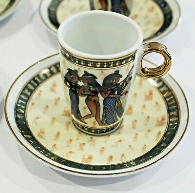 Set 6 EGYPTIAN Coffee Demitasse Espresso Cups & Saucers Fathi Mahmoud Limoges