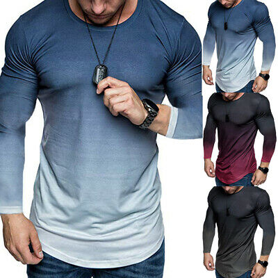 Mens Gradient Plain Long Sleeve Tops Tee Sports Casual Muscle T Shirts Blouse UK