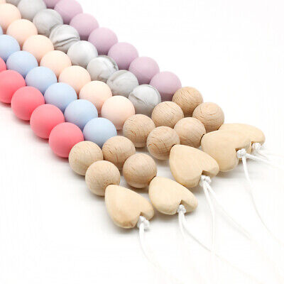 Baby Teething Soother Holder Round Silicone Beads Wooden Heart Pacifier Chain
