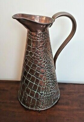 J.S&S Joseph Sankey Arts & Crafts Copper Lizard Skin Jug